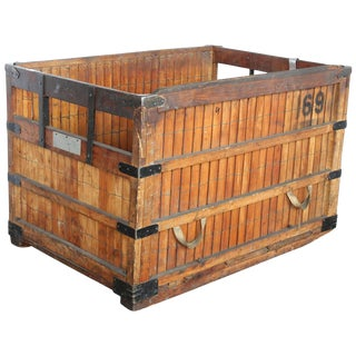 Large Antique American Industrial Wood Crate or Bin