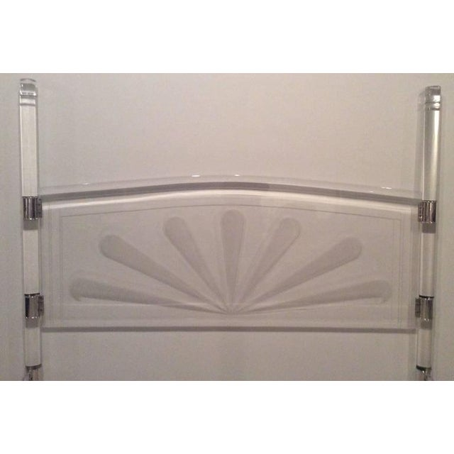 Chrome Mid-Century Lucite & Chrome Four Post Canopy King Size Bed For Sale - Image 7 of 11