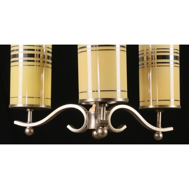 Art Deco Art Deco Chandelier With Yellow Glasses For Sale - Image 3 of 5