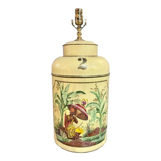 1970s Mid-Century Tole Hand Painted English Export Tea Caddy Lamp For Sale