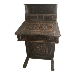 Mosaic Wood and Mother of Pearl Secretary Desk For Sale