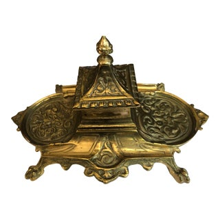 19th Century Americana Ornate Brass Ink Well For Sale