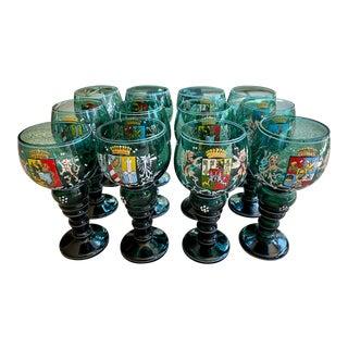 Vintage Bavarian Hand-Enameled Blown Green Glass Goblets - Set of 12 For Sale