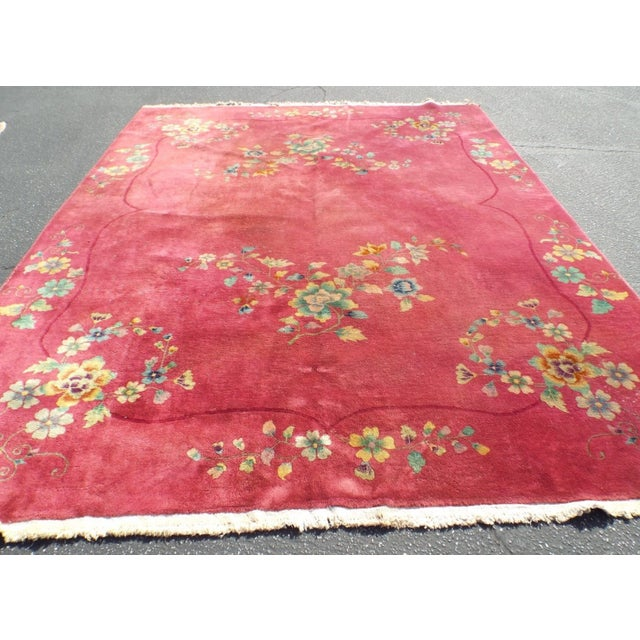 Authentic 1930s Art Deco Chinese Handmade Rug - Image 6 of 9