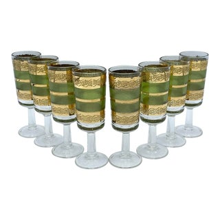Mid-Century Starlyte Green and 22k Gold Cordial Glasses-Set of 8 For Sale
