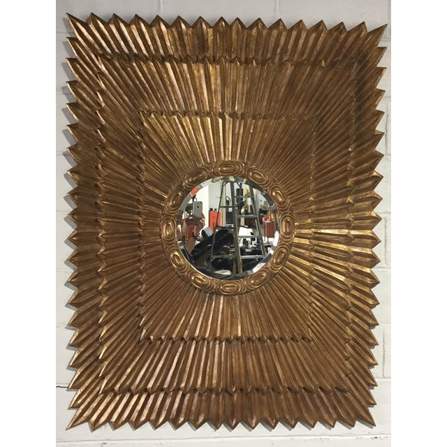 1970s Italian Large Giltwood Sunburst Mirror For Sale - Image 9 of 9