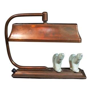 Art Deco Polar Bear Copper Desk Lamp For Sale