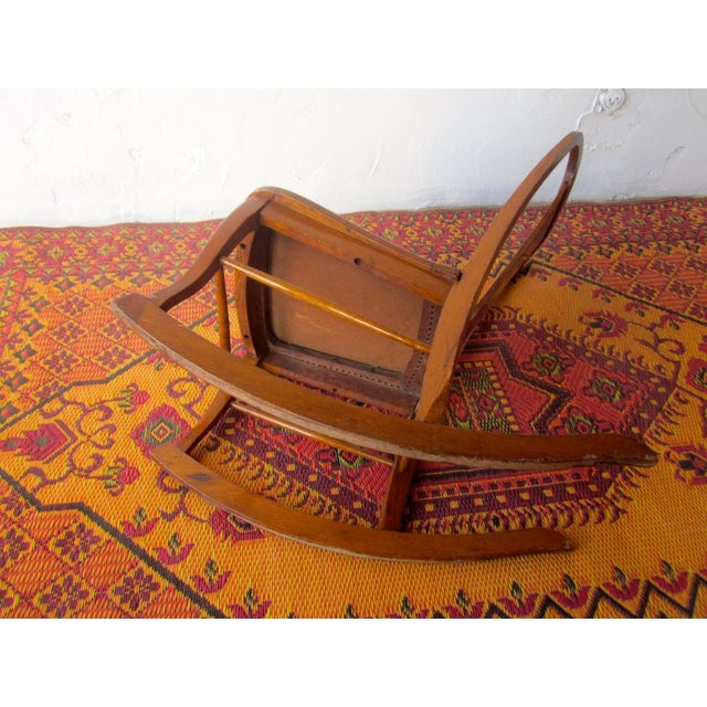 American 20th Century Americana Wooden Rocking Chair For Sale - Image 3 of 9
