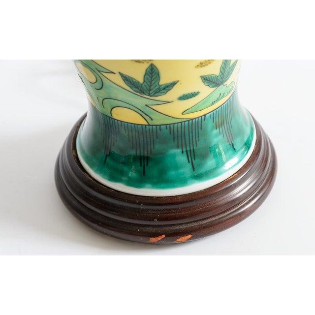 Japanese Kutani Porcelain Vase Table Lamp With Custom Shade, C. 1940 For Sale - Image 9 of 13