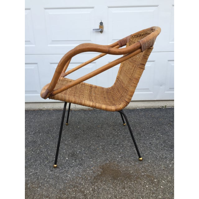 Arthur Umanoff Calif-Asia Bamboo and Wicker Arm Chair For Sale - Image 4 of 12