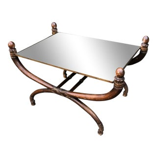 Antique Gondola Form Mirror Top Coffee Table For Sale