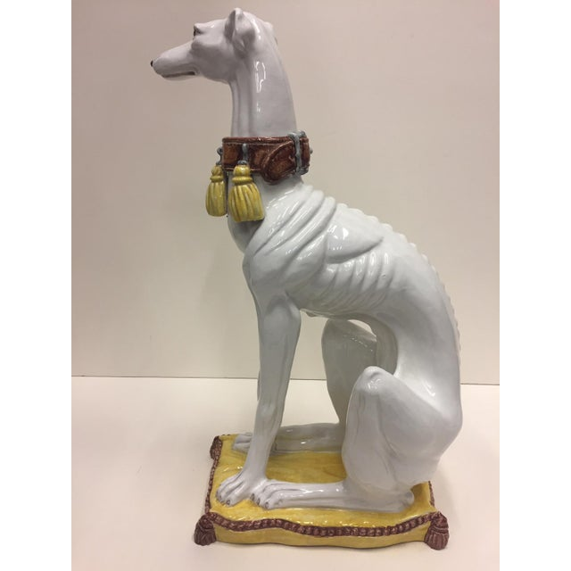 1970s Glazed Terracotta Greyhound Sculpture For Sale - Image 5 of 13