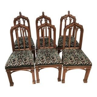 Early 19th Century Vintage Gothic Revival Dining Chairs - Set of 6 For Sale