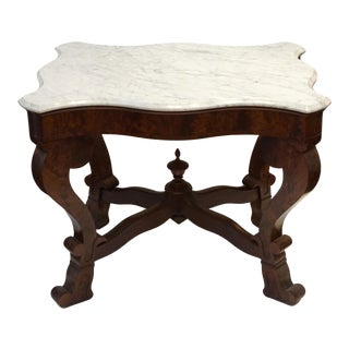 19th Century Burled Walnut Parlor Table with Carrara Marble Top