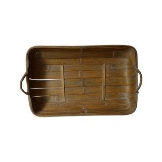 Vintage Asian Style Rattan Basket Tray
