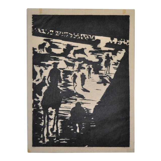 """Mid Century """"Don Quixote at the Paseo"""" Woodcut by Michael Christiana C.1961 For Sale"""
