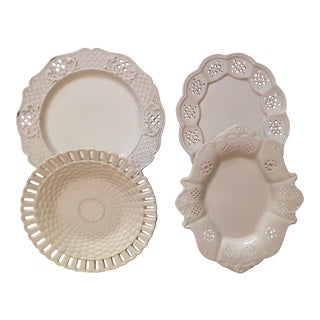 Late 19th Century Antique English Cream Ware Porcelain Plates- Set of 4 For Sale