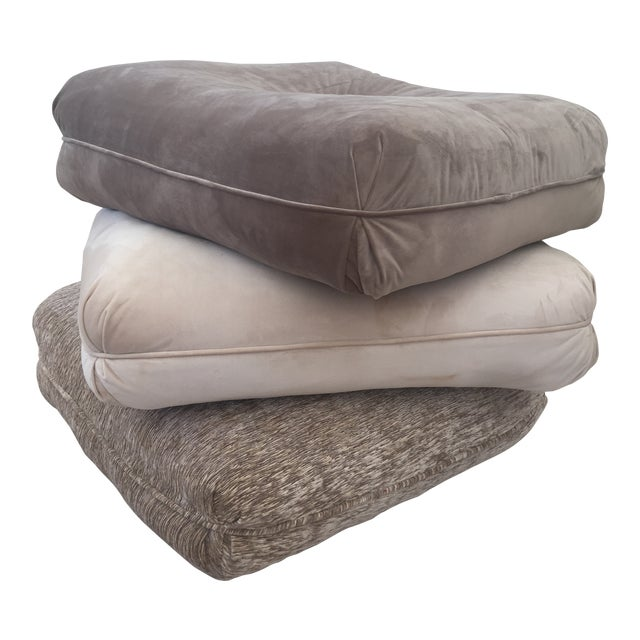 Velvet Pillow Stools - Set of 3 For Sale