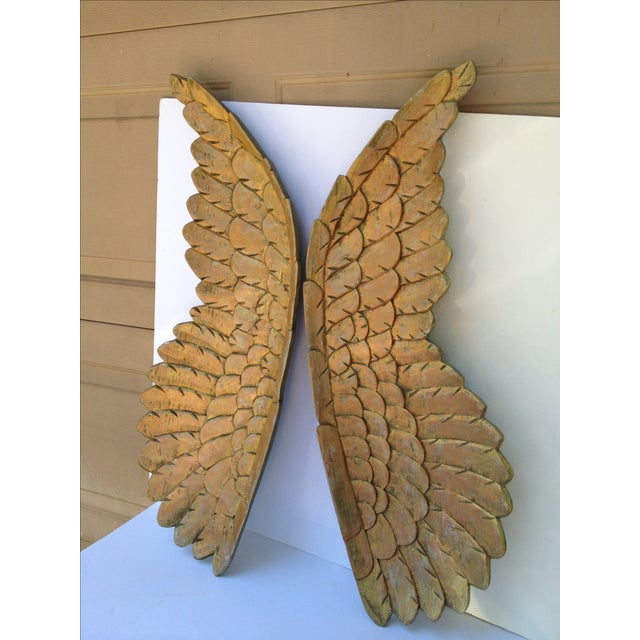Large Gold Carved Wood Wings - Pair - Image 2 of 6