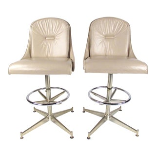 Pair Vintage Modern Counter Stools For Sale