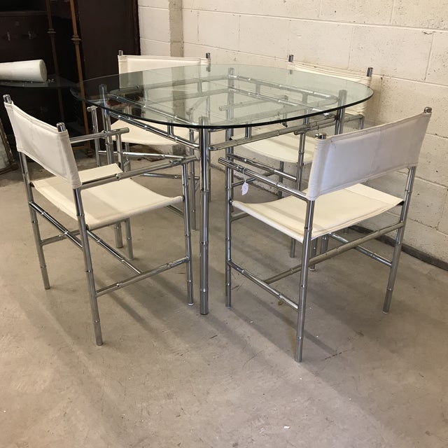 Mid-Century Modern Chrome Faux Bamboo Dinette Set For Sale - Image 3 of 10