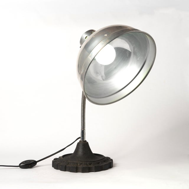 Vintage Industrial Gooseneck Table Lamp With an Aluminum Shade and a Cast Iron Base For Sale - Image 12 of 13