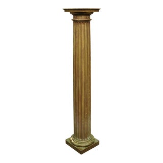 "Antique Italian Classical Carved Wood Column 58"" Tall Distressed Gold Pedestal For Sale"