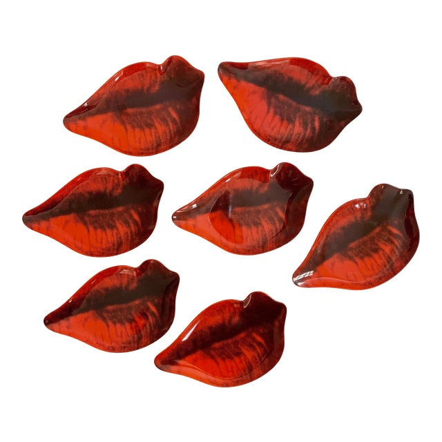 Andy Warhol Melamine Lips Dishes - Set of 7 For Sale