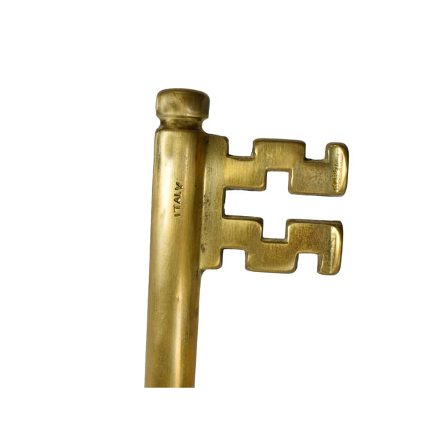 Vintage Italian Brass Skeleton Key With Hidden Corkscrew Wine and Bottle Opener For Sale - Image 4 of 5