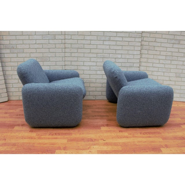Herman Miller Mid Century Modern Ray Wilkes for Herman Miller Blue Chiclet Lounge Chairs - a Pair For Sale - Image 4 of 9