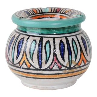 Moroccan Hand Painted Ceramic Astray from Fez For Sale