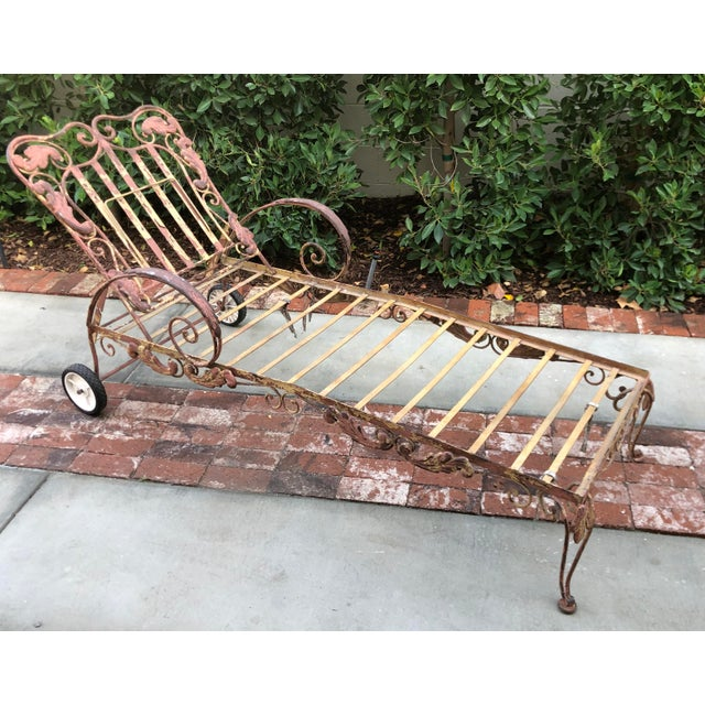 Hollywood Regency Mid-Century Wrought Iron Outdoor Chaise Lounge Chair 1 of 2 Available For Sale - Image 3 of 5