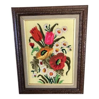 1960's Framed Crewel Flower Bouquet Embroidery