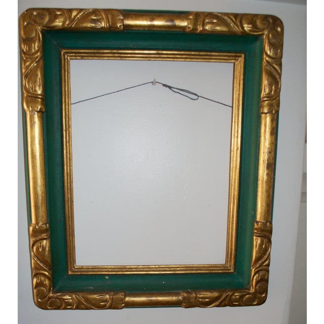 Vintage Hand Made Carved and Painted Wooden Frame - Image 2 of 5