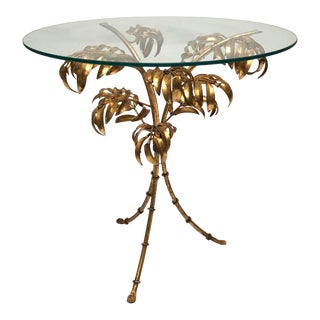 Vintage Italian Gilt Tole Palm Leaf and Bamboo Side Table For Sale
