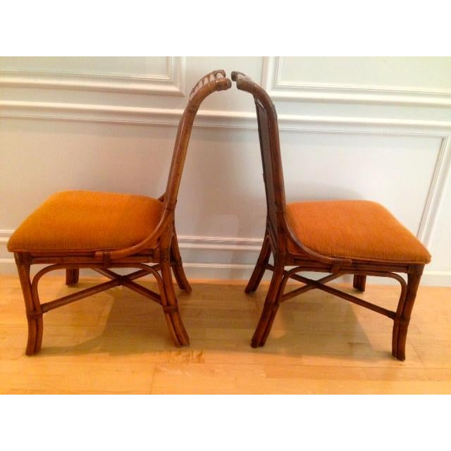 Tommy Bahama Wicker Rattan Upholstered Side Chairs - A Pair - Image 3 of 8