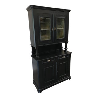 19th Century English Shaker Style Step Back Hutch China Cabinet For Sale