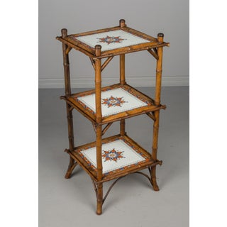 19th Century French Bamboo and Ceramic Tile Stand Preview