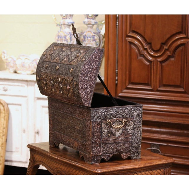 18th Century Spanish Gothic Repousse Silver and Gilt Copper Bombe Treasure Chest For Sale - Image 10 of 13