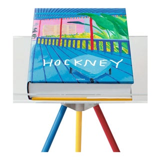 "Autographed David Hockney ""A Bigger Book"" Painting Collection with Book Stand Collector's Edition For Sale"