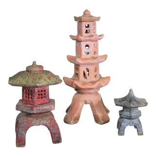 Trio of Vintage Concrete Japanese Pagoda Garden Ornaments Three Heights For Sale