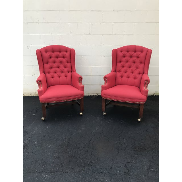 Red Upholstered Wingback Chairs - a Pair For Sale In Atlanta - Image 6 of 7