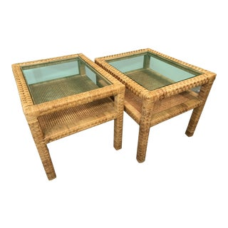 Boho Chic Vintage Wicker Wrapped Side Tables-Pair For Sale