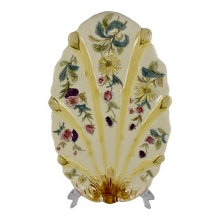 French Faïence Hand-Painted Floral Oblong Asparagus Plate For Sale