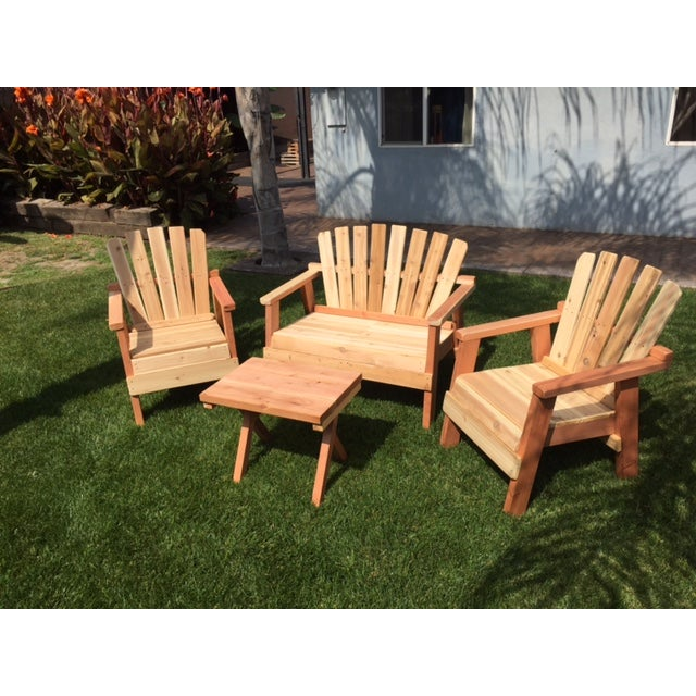 Natural Redwood Patio Set - Set of 4 - Image 5 of 11