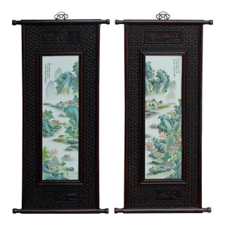 Pair Carved Chinese Huali Relief Porcelain Scenery Wall Panels