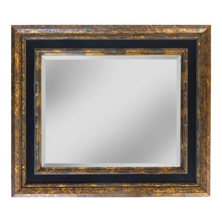 Vintage Beveled Mirror in a Gilt Frame W/ Black Accents For Sale