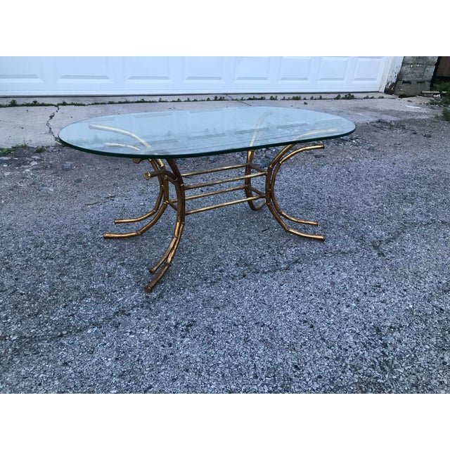 1960s Hollywood Regency Gilt Faux Bamboo Glass Top Coffee Table For Sale - Image 10 of 13