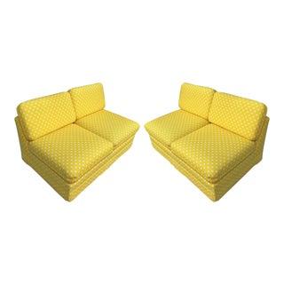 Thayer Coggin Milo Baughman Yellow Slipper Sofas - a Pair For Sale