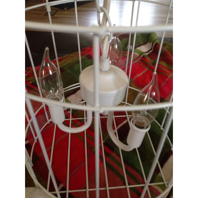 White Birdcage 3 Light Chandelier With Antique Glass Prisms - Image 6 of 9